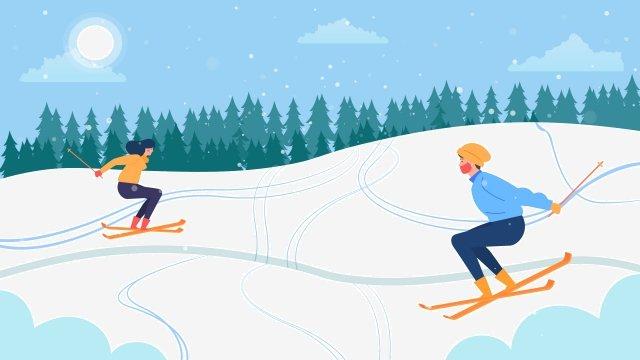 무거운 눈 겨울 스키 눈 현장 삽화 소재
