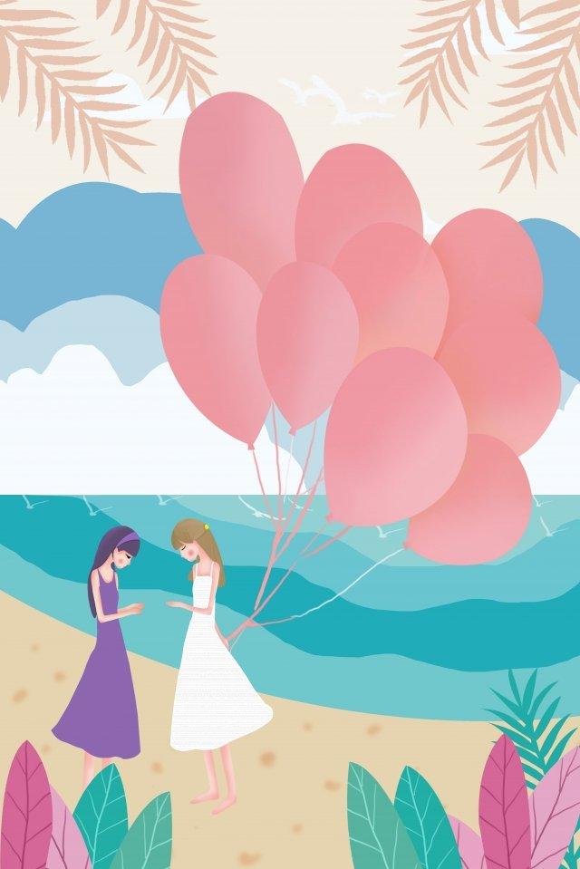 你好 在八月系列女友海邊遊 插畫素材