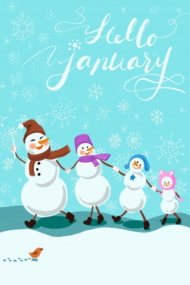 1 월 1 일 눈사람 눈이 내리는 안녕하세요 삽화 이미지