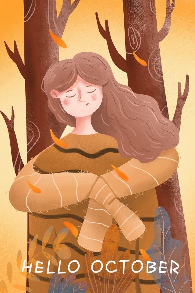 안녕하세요 10 월 소녀 그림에서는 그림에서는 삽화 소재