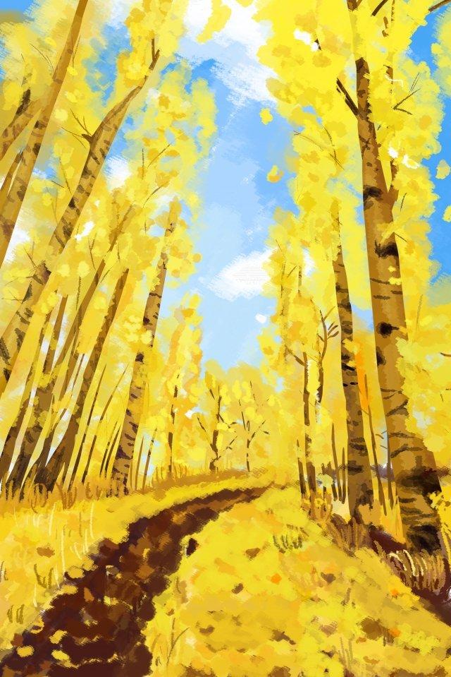 10月下旬秋こんにちはイチョウ イラスト画像