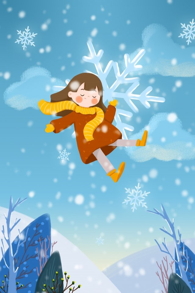 안녕하세요 1 월 1 월 소녀 눈송이 삽화 이미지