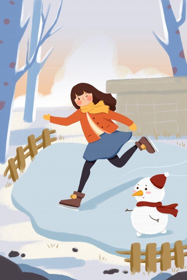 안녕하세요 1 월 1 월 스케이트 눈사람 삽화 이미지