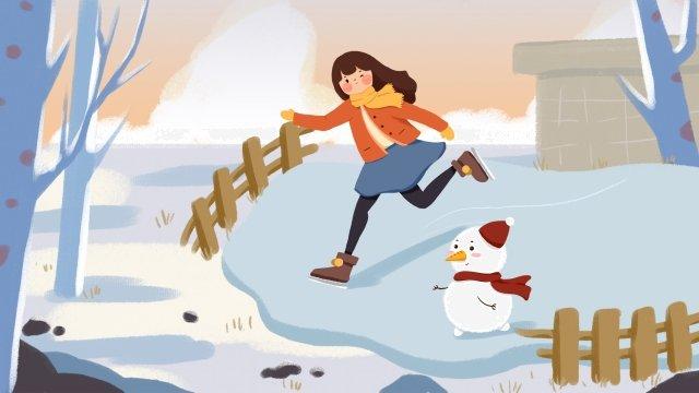 안녕하세요 1 월 스케이트 눈사람 소녀 삽화 소재