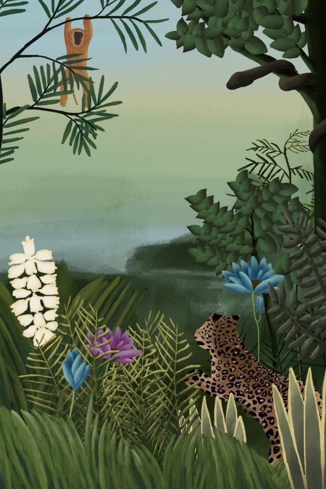 ヘンリールソー熱帯雨林元の植物 イラストレーション画像