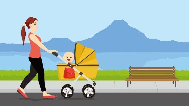 高速公路快樂母親和孩子旅行 插畫素材