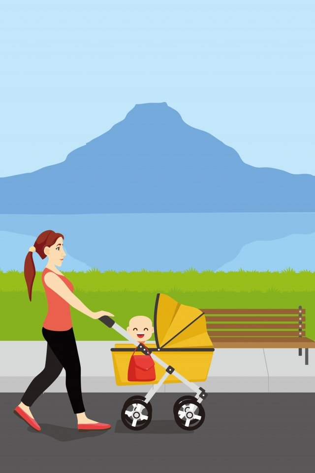 highway happy mother and child travel llustration image