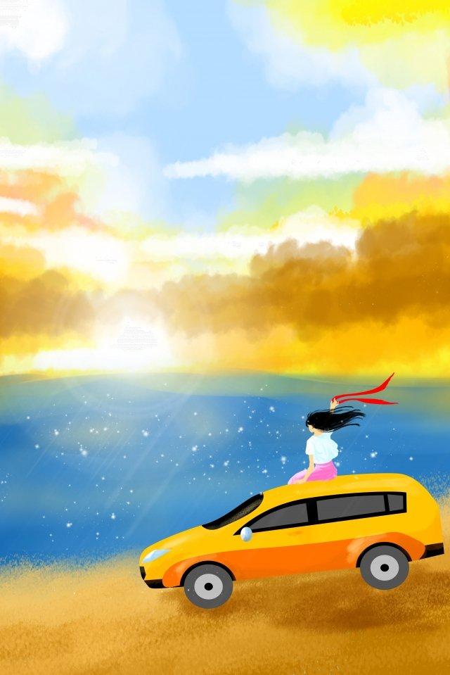 假期長假期旅行的女孩 插畫素材