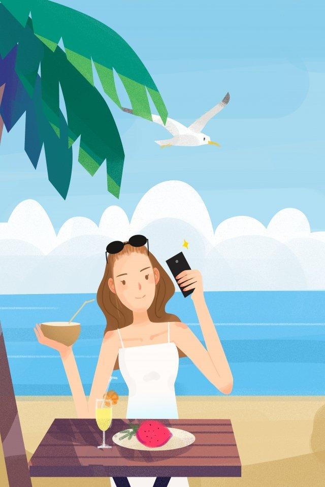 长假出游海边拍照 假期 海边 出游长假出游海边拍照  出游  拍照PNG和PSD illustration image