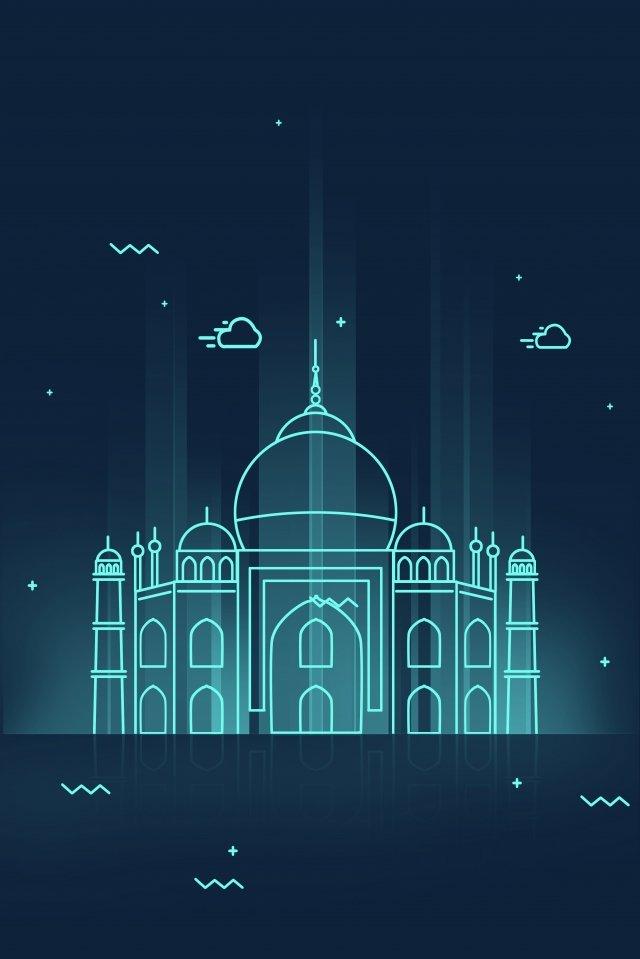 holiday tourism line cartoon, Taj Mahal, Night View, Landmark Building illustration image