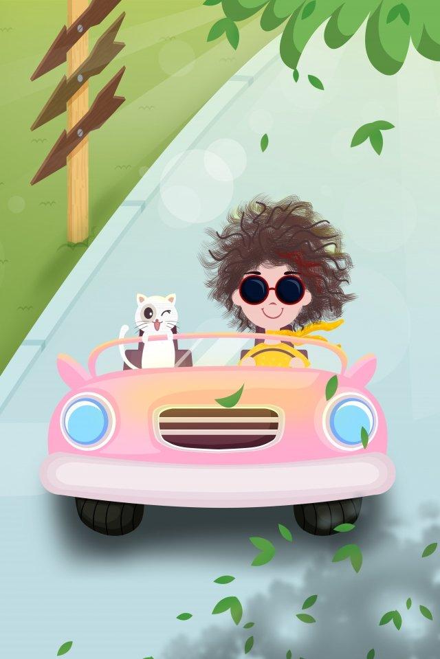 假日旅行女孩貓 插畫素材 插畫圖片