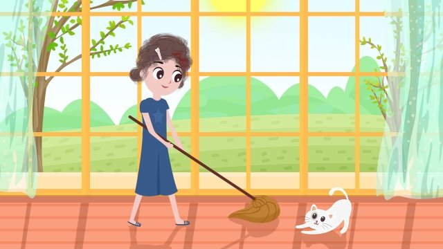 home a person life clean, Health, Girl, White Cat illustration image