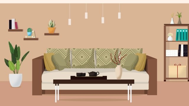 home furniture modern style living room, Sofa, Illustration, Wall illustration image