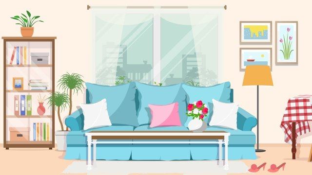home indoor decoration home improvement, Sofa, Wall Paintings, Potted Flower illustration image