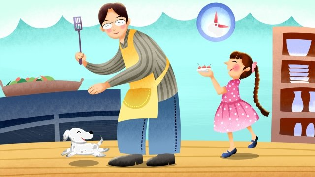 home life cooking father and daughter, Happy, Family, Cooking illustration image