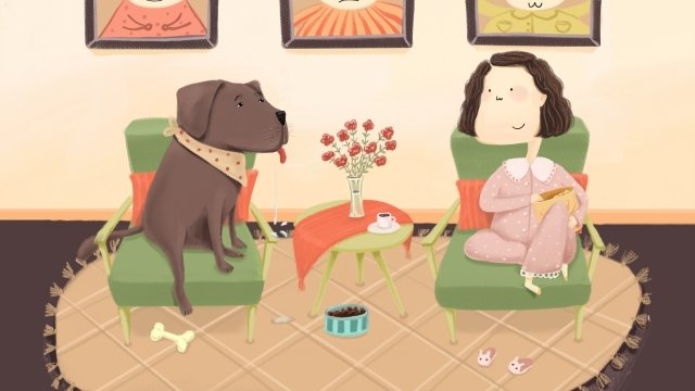 home life family eating girl, Cute Pet, Dog Drooling, Warm illustration image