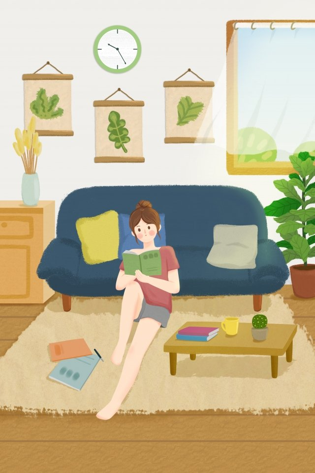 home life family leisure, Literary, Girl, Reading illustration image