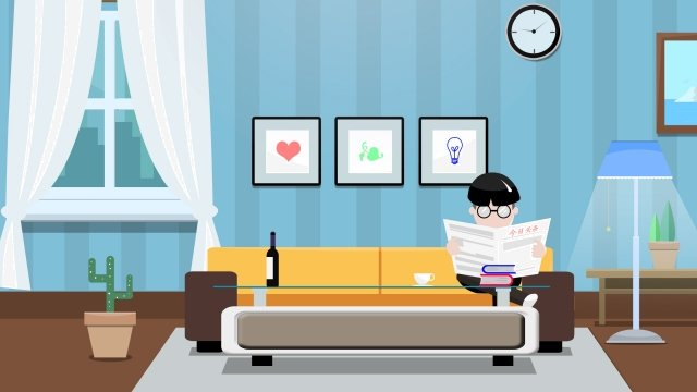 home life family living room, Illustration, Home, Life illustration image