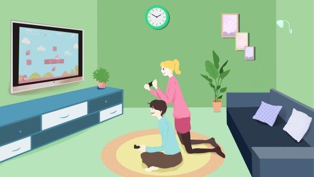 семейная жизнь домашняя гостиная досуг Ресурсы иллюстрации