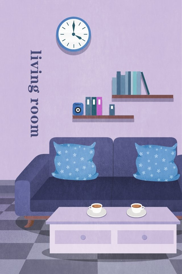 home living room decoration sofa, Illustration, Home, Living Room illustration image