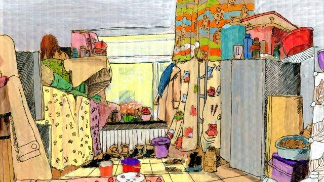 घर पढ़ने दिन धूप गर्म चित्रण छवि
