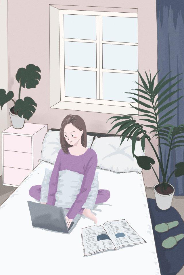 home room girl learn, Jobs, Plant, Home illustration image