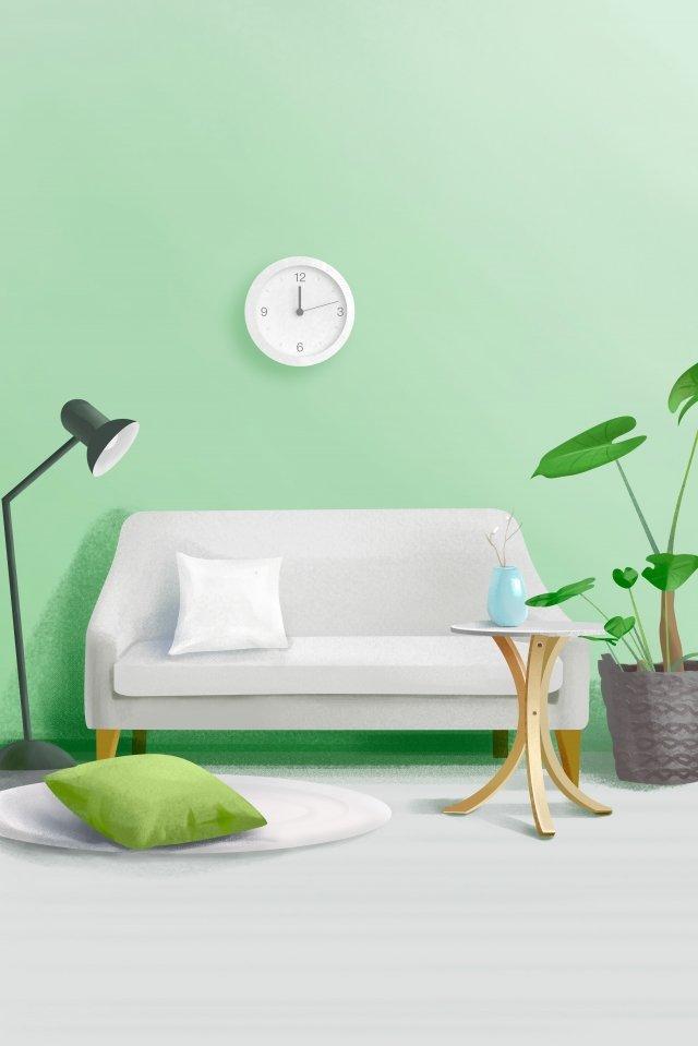 家のソファーの卓上スタンド緑の植物 イラスト素材 イラスト画像