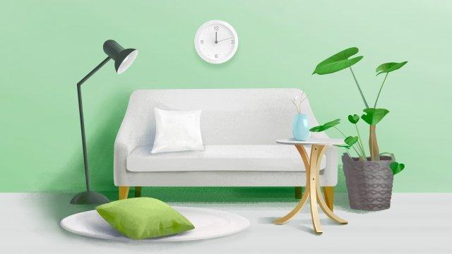 casa sofá candeeiro verde planta Material de ilustração