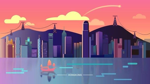 hong kong bandar yang ramai imej keterlaluan imej ilustrasi