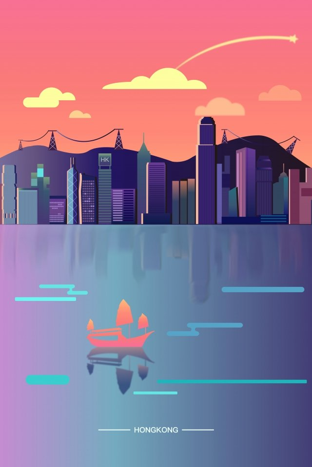 hong kong city bustling city, Gorgeous, Beautiful View, Dusk illustration image