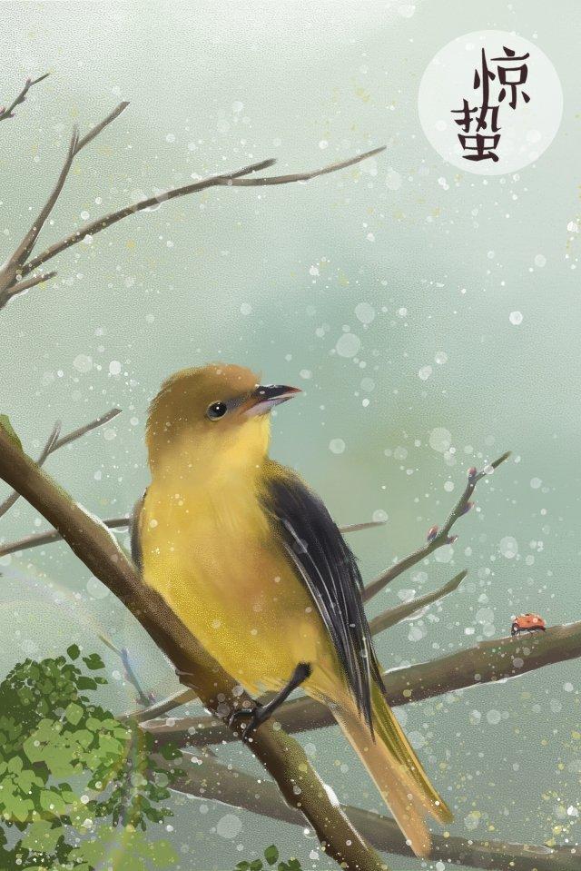 हॉरर कैनग गेंग हुआंग वेई येलो बर्ड चित्रण छवि चित्रण छवि