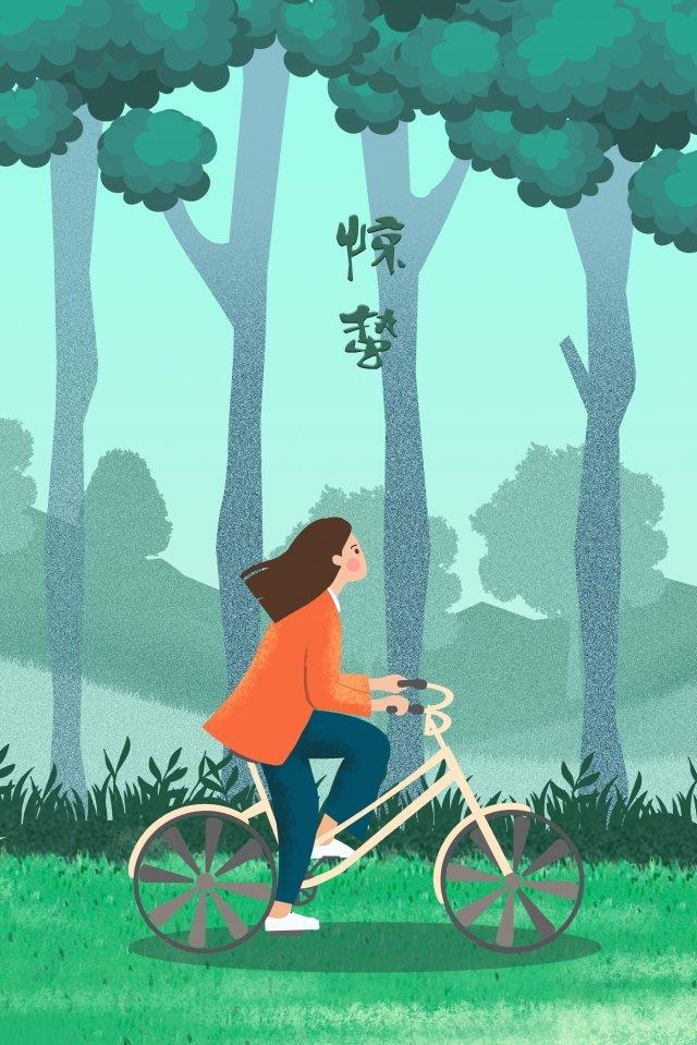 ホラーフォレストガール自転車 イラスト素材 イラスト画像