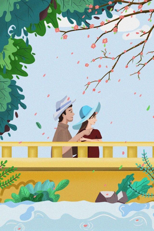 ホラーピーチブロッサムブリッジカップル イラスト画像