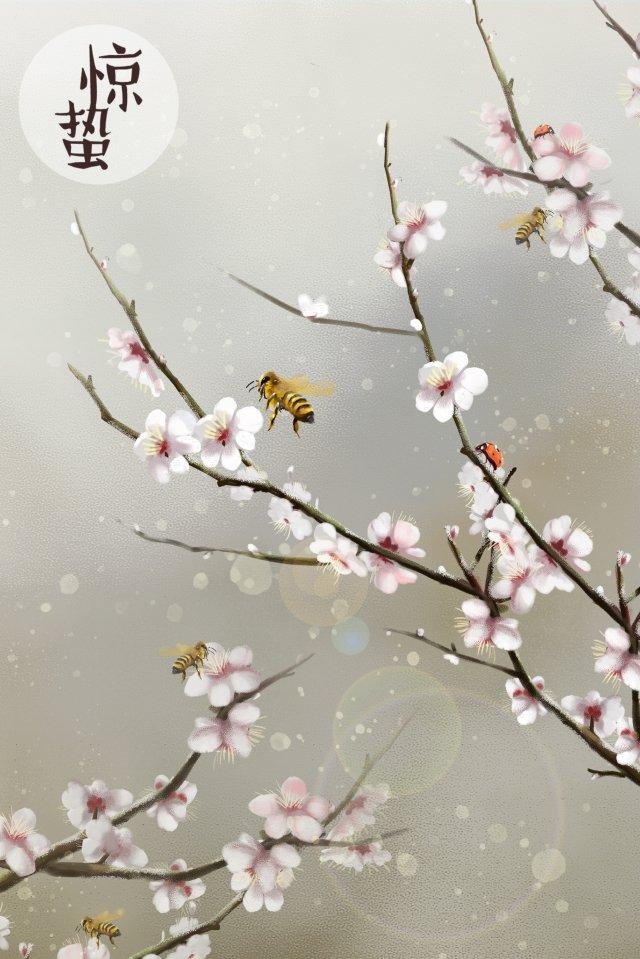 ホラー桃の花桃の植物 イラスト素材