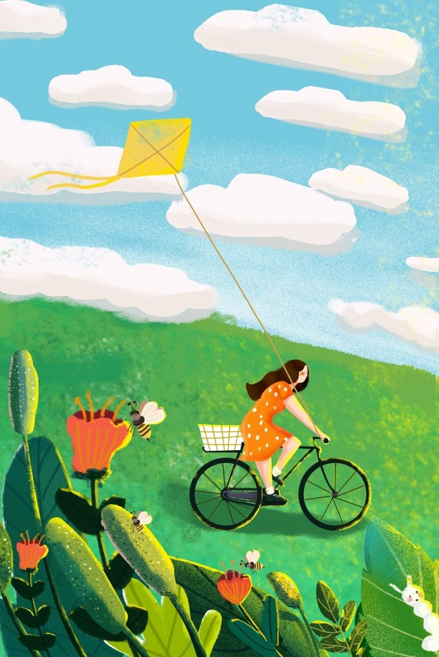 horror solar terms fly a kite green, Flowers, Blue Sky, Horror illustration image