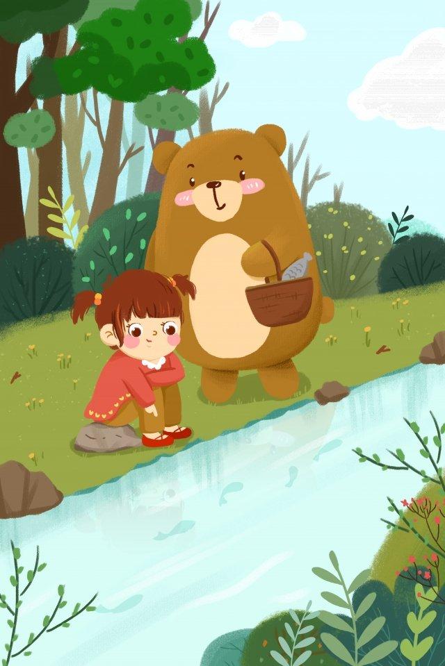 ホラー春少女クマ イラストレーション画像 イラスト画像