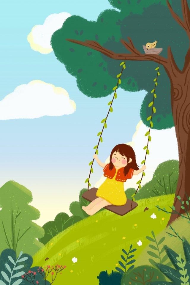 ホラー春の女の子スイング イラストレーション画像