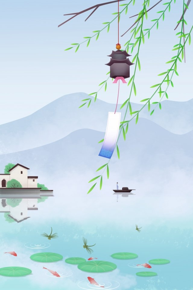 恐怖春天景觀湖邊蜻蜓 插畫素材 插畫圖片