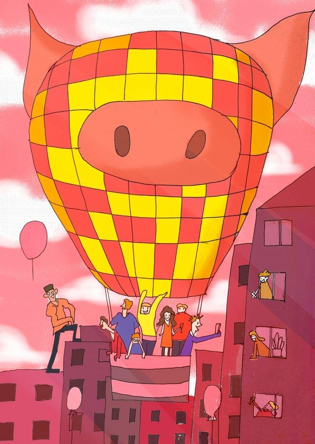 منطاد الهواء الساخن حلم الخيال الوردي الصور المدرجة