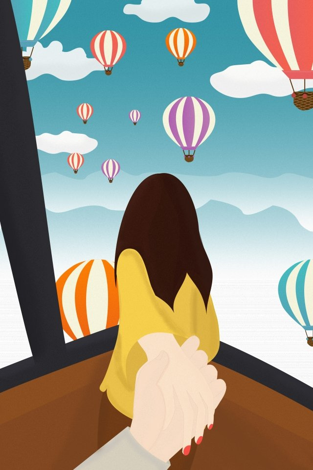 hot air balloon turkey sky white clouds, Man Pulling Womans Hand, Back To Her Boyfriend, Look At The Scenery illustration image