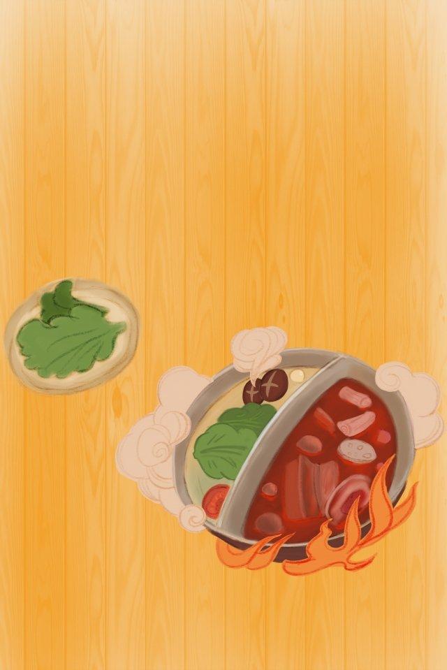 냄비 야채 음식 열 삽화 소재