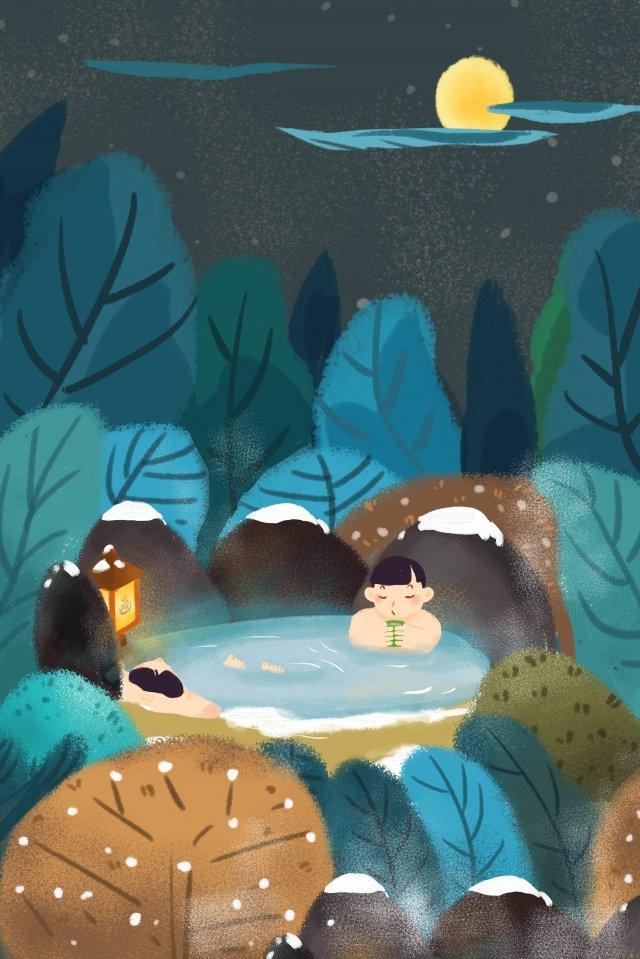 温泉天然の日本の温泉の冬 イラスト素材