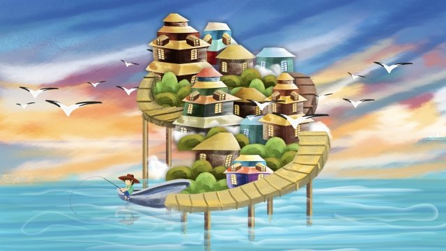 湖の水上の家 イラスト素材 イラスト画像