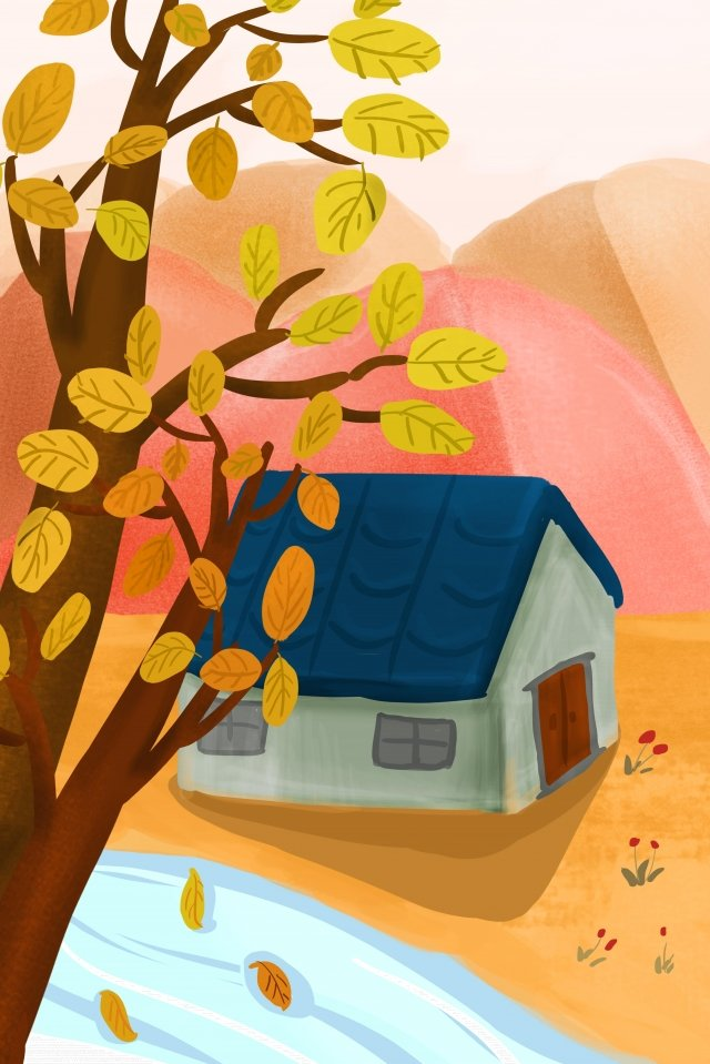 房子樹木草坪河 插畫素材