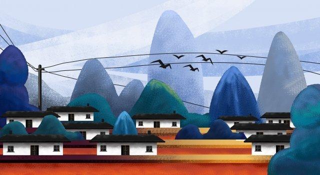 家の村小さな村の風景 イラスト素材