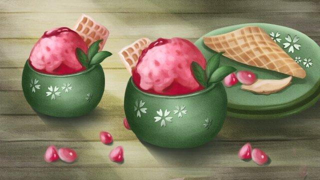 sorvete de morango romã Material de ilustração Imagens de ilustração