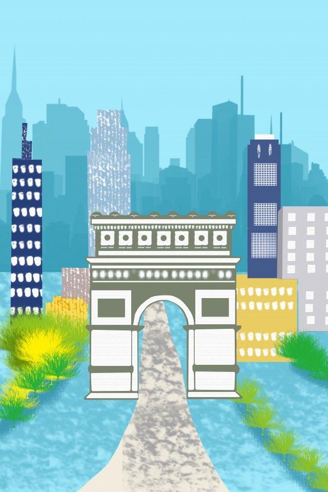 그림 아크 드 triomphe 유명한 건물 삽화 이미지