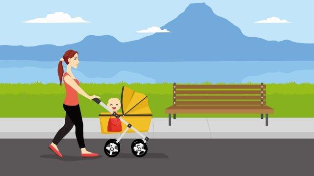 插圖寶貝媽媽公園散步 插畫素材