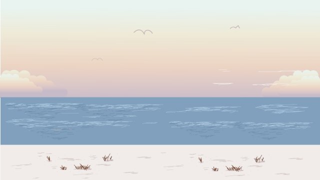 illustration beach by the sea landscape beach, Seaside, Seaside Scenery, Summer illustration image
