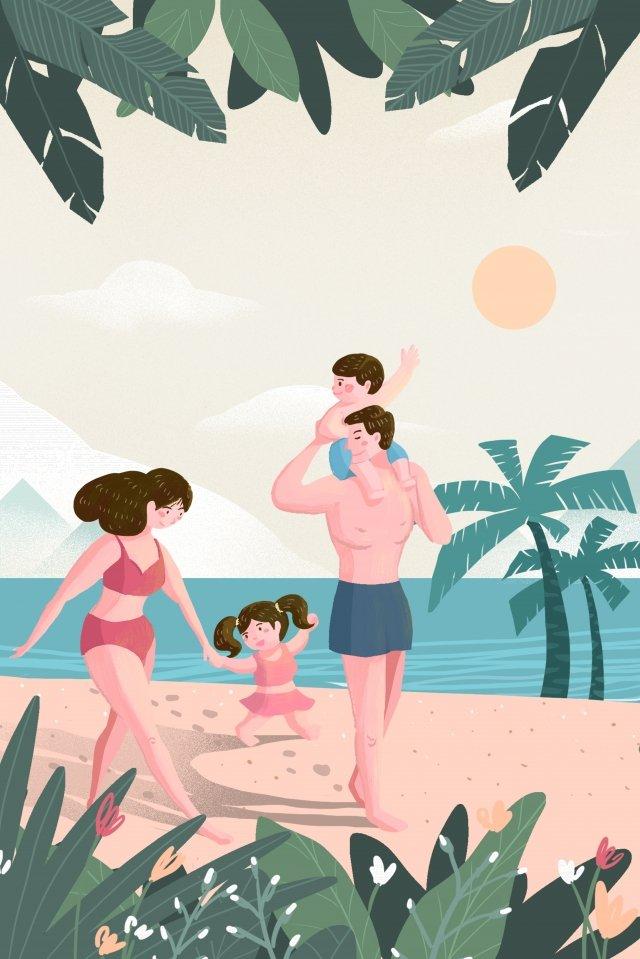 minh họa bãi biển gia đình ấm áp Hình minh họa